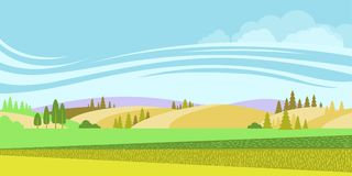 Rural landscape.Vector nature background with fields Stock Image