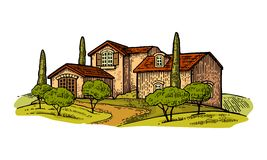 Rural landscape with villa or farm with field, olive tree and cypress. Vector engraving vintage color illustration. Isolated on white background Royalty Free Stock Image