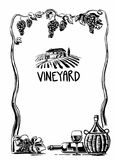 Rural landscape with villa and vineyard fields. Bunch of grapes, a bottle, a glass and a jug of wine. Black and white vintage vect Stock Photo