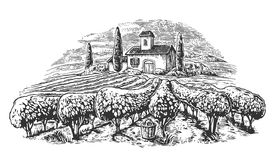 Rural landscape with villa, vineyard fields and hills. Black and white drawn vintage vector illustration for label, poster Stock Photo
