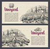 Rural landscape with villa, vineyard fields and hills. Vector engraving drawn vintage illustration. Old paper beige texture backgr Stock Image
