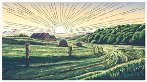 Rural landscape with village in engraving style. And painted in color. Vector Illustration Royalty Free Stock Photo