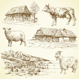 Rural landscape, village, farm animals. Hand drawn set - rural landscape, village, farm animals Royalty Free Stock Photography