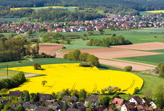 Rural landscape with a village in Franconia. (Germany stock photography