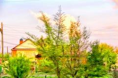 Rural landscape with village garden watercolor illustration Stock Image