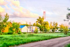 Rural landscape with village garden watercolor illustration Royalty Free Stock Image