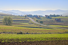 Rural landscape with village in The Pieniny Mounta Stock Photos