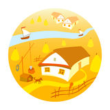 Rural landscape with vineyard and mountain panoram. Four season. royalty free illustration