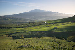 Rural Landscape And Volcano Etna Stock Photos
