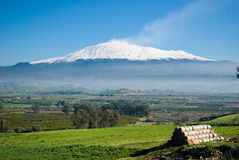 Rural landscape and volcano etna Royalty Free Stock Images