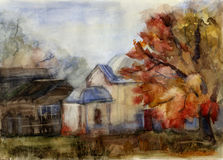 Rural landscape. Watercolor Stock Photos