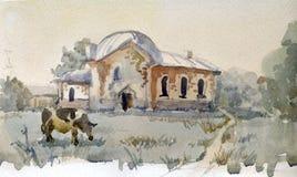 Rural landscape. Watercolor vector illustration
