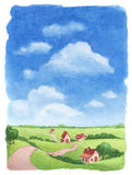 Watercolor rural landscape Stock Photos