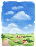 Watercolor rural landscape Stock Photos