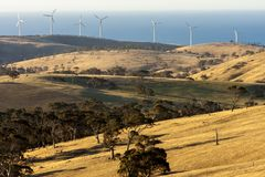 Rural landscape with wind farms near Great Ocean Road, Australia. Eco technology stock image