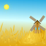 Rural landscape with windmill Royalty Free Stock Photo
