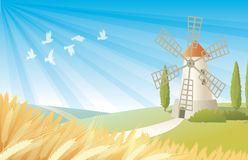 Rural landscape with windmill. Contryside landscape with wheat field, windmill and birds Stock Images