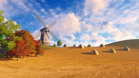 Rural landscape with windmill and haystacks Stock Photo
