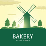 Rural landscape with windmill. Sunrise. Bakery. Fresh bread. Vector illustration. Royalty Free Stock Image