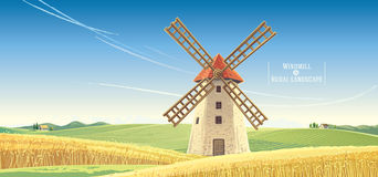 Rural landscape with windmill. Royalty Free Stock Image