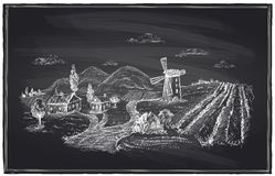 Rural landscape, windmill and vineyard chalk. Rural landscape, windmill and vineyard chalk illustration Royalty Free Stock Photography