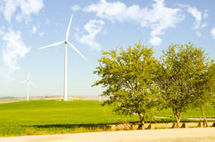 Rural landscape with windmills Royalty Free Stock Photo