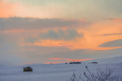 RURAL LANDSCAPE WINTER.Between Apulia and Basilicata.Sunrise: snowy hills. -ITALY-Rural snowy landscape with farmhouse. Royalty Free Stock Images