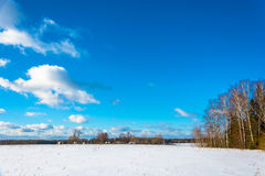 Rural landscape in winter frosty day, Russia. Beautiful rural landscape in the winter cold day, Russia Royalty Free Stock Photos