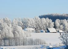 Rural landscape in winter frosty day. Russia royalty free stock photos