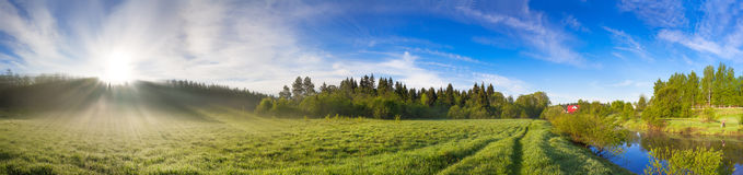 Rural Landscape With Sunrise,a Meadow And River Panorama. Stock Photo