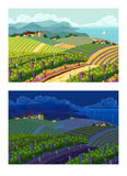 Rural landscapes. Day and night. Rural landscape with vineyard and mountain panoram. Day and night Royalty Free Stock Photo