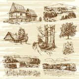 Rural landscapes and houses. Hand drawn collection Royalty Free Stock Image