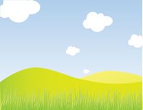 Rural lanscape. Vector beautiful green meadow, with blue sky and clouds Royalty Free Stock Photos