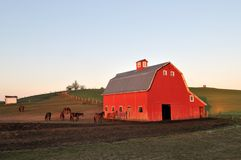 Rural lanscape with red barn in Palouse Stock Photos