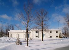 Rural Life. Country home after snow storm royalty free stock photography