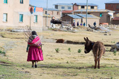Rural life on Island of the Sun, Titicaca Lake, Bolivia Stock Image