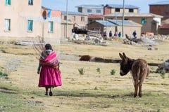 Rural life on Island of the Sun, Titicaca Lake, Bolivia Stock Image