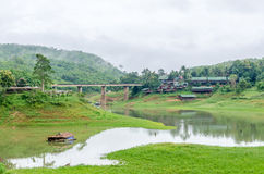 Rural life view of wooden Mon Bridge in Sangkhla Buri Stock Images
