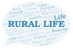 Rural Life word cloud. Wordcloud made with text only royalty free illustration