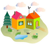 Rural lodges and the cat walking in the yard. Vector Royalty Free Stock Images