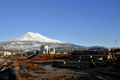 Rural lumber mill. Rural mill town with beautiful mountain behind it Stock Photography