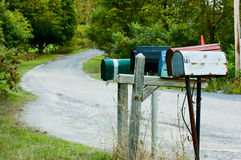 Rural Mail. Row of mailboxes on country road Stock Photography