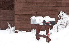 Rural Mail Boxes in Heavy Winter Snow Royalty Free Stock Photography