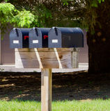 Rural Mail Boxes. Three rural mail boxes on a wood stand royalty free stock image