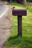 Vertical Daytime Rural Mailbox Outgoing Mail. Mailbox by the side of the road Stock Photography