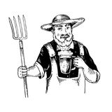 Rural man with pitchfork and beer engraving vector Royalty Free Stock Photography