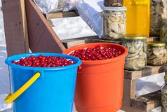Rural market. Sale of winter blanks on the street counter in winter in the snow. Berries of viburnum, mountain ash in buckets. stock photography