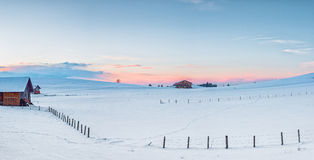 Rural meadow with snow at winter stock images