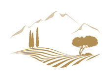 Rural mediterranean vector landscape with mountains Royalty Free Stock Images