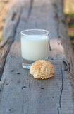 Rural milk and biscuit Stock Images